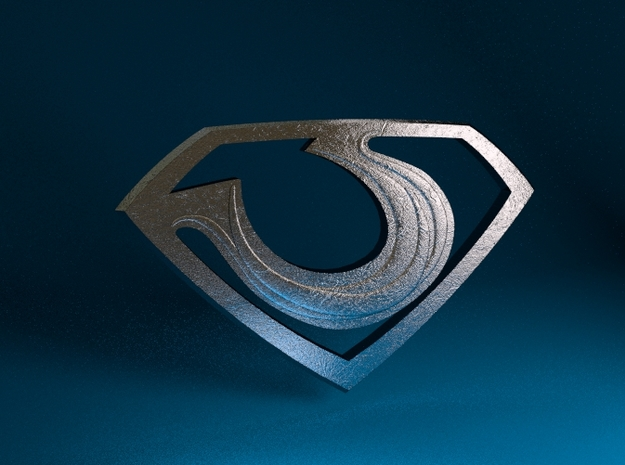 "Zod ""Man of Steel"" Double Sided 3d printed Stainless Steel Render"