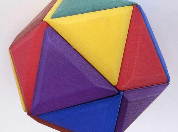 12 Different Piece Icosahedron 3d printed The assembled puzzle