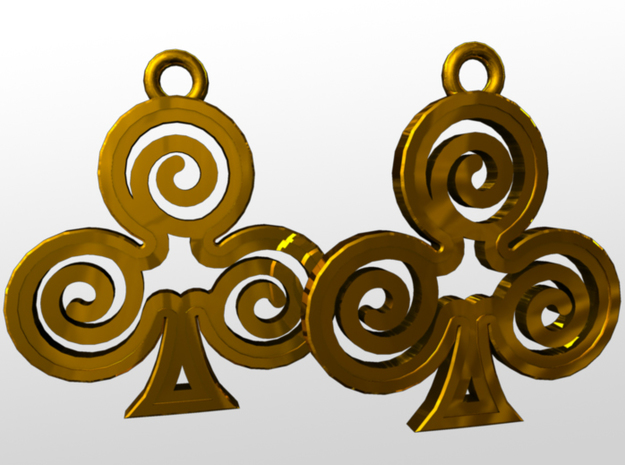 Ace Earrings - Clubs 3d printed rendered image