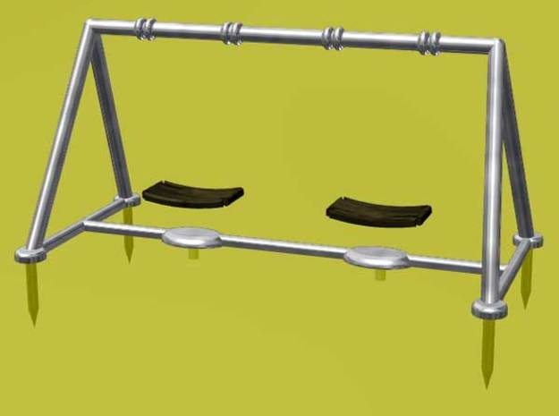 Children's Swings, HO Scale (1:87) 3d printed Hanging the swing seats with thread.