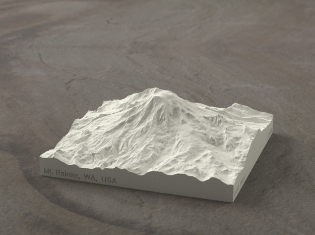 4'' Mt. Rainier, Washington, USA, Sandstone 3d printed Radiance rendering of model from south