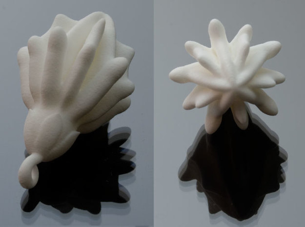 Laurel Charm 3d printed Printed in White Strong & Flexible Polished.