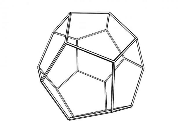 Dodecahedron Wireframe Thin 3d printed Additional rendering for clearer understanding.