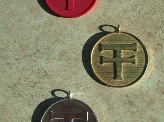 Navajo Water Sign Medallion 3d printed Pure silver (bottom), gold plated steel (middle) red nylon (top)