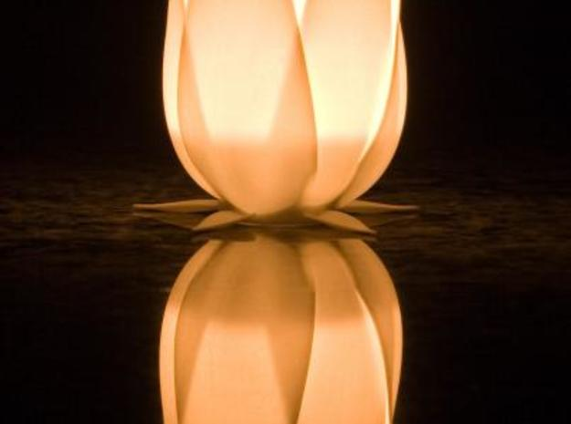Tulip candle holder 3d printed Photo of the translucent light, using a standard tea light.