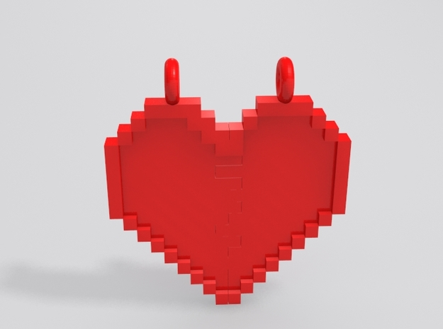 Pixel Heart Friendship Pendant 3d printed Sample render in red with heart together