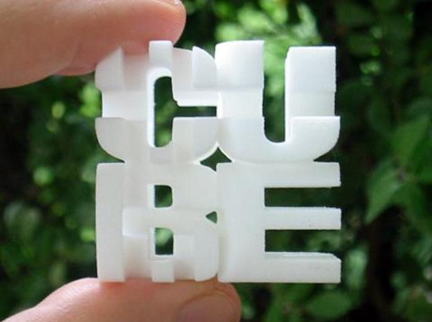 """Cube"" Cube 3d printed RL photo face on."