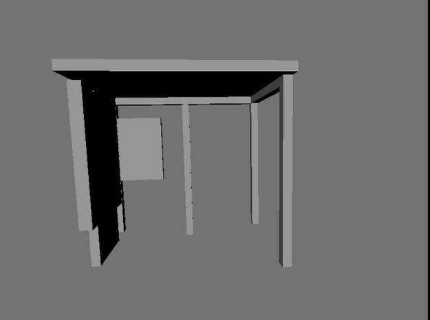 1:76th bus shelter 3 (2 pack) 3d printed Rendered front view