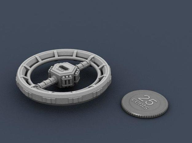 Orbital Ring City 3d printed Render of the station, with a virtual quarter for scale.