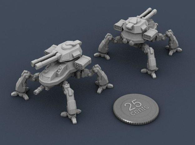 Terran Artillery Walker 3d printed Renders of the model, with virtual quarter for scale.