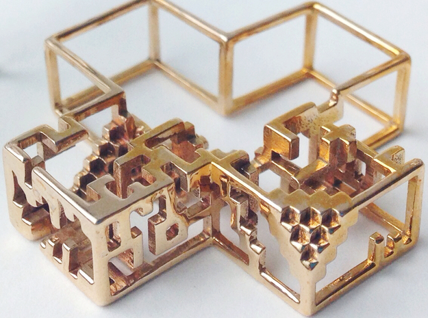 Pixel Pendant 3d printed Close-up of polished bronze Escher details