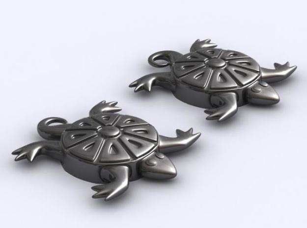 Turtle Earrings 3d printed 3D Render perspective of set
