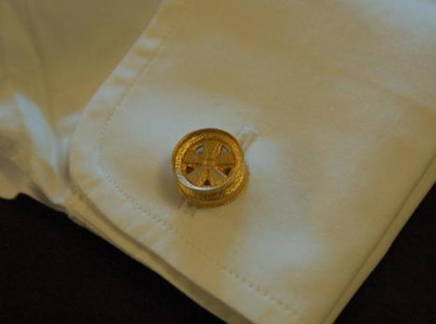 Fuchs wheel cufflink 3d printed Cufflink in gold