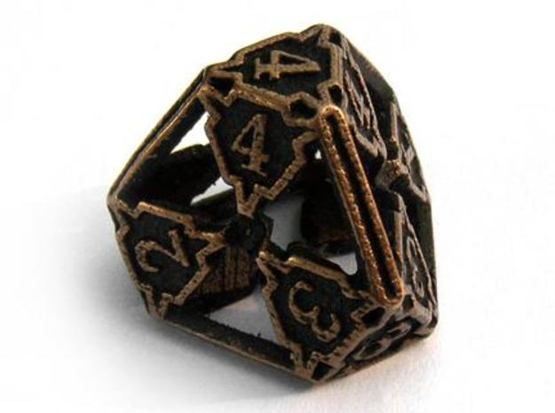 Large Die4 3d printed In antique bronze glossy and inked