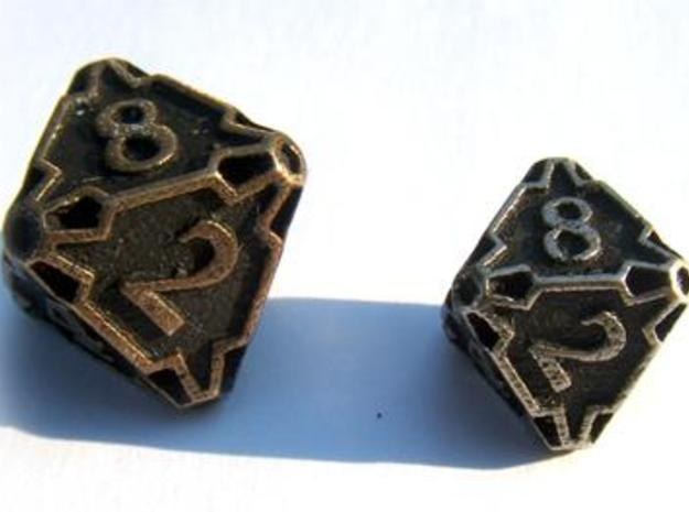 Large Die8 3d printed Compared to a standard-sized Die8
