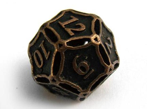 Large Die12 3d printed In antique bronze glossy and inked