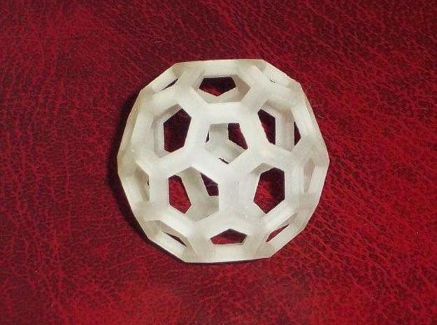 Truncated icosahedron 3d printed Transparent detail print