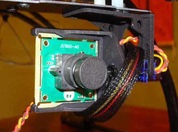 FPV Cam Mount V2 3d printed Front right (embedded servo horn visible)