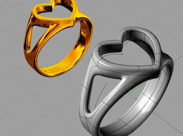 Silvia Heart ring 3d printed CAD rendering of Tsplines and converted to Rhino.