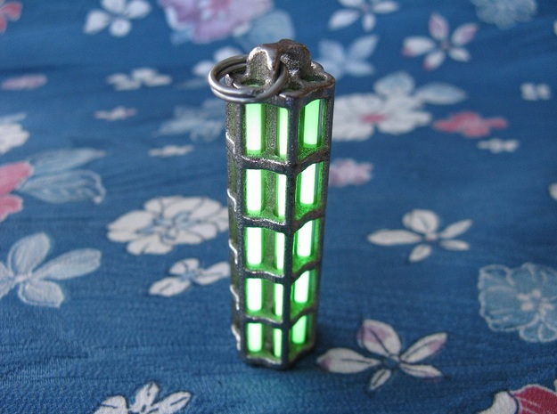 Tritium Lantern 5A (Stainless Steel) 3d printed In this picture the phosphorus coating on the tritium vial being energised by UV light.