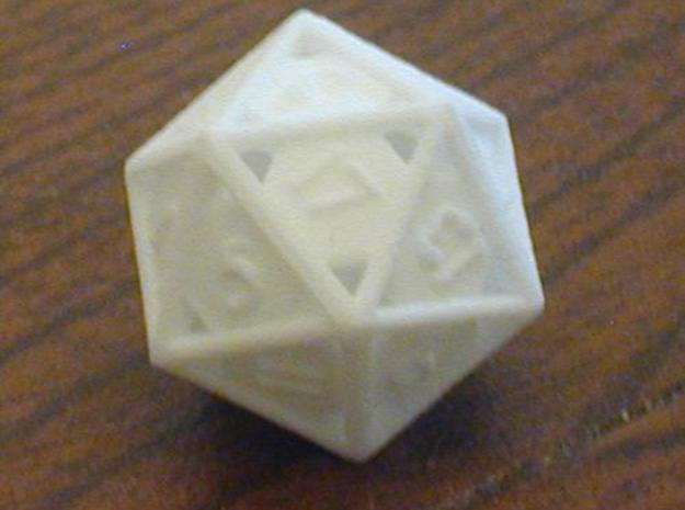 Open 20-sided die 3d printed Print in WSF