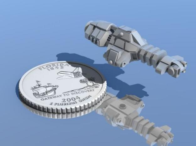 Gray Goo 3d printed Gray Goo destroyer-class vessel shown with quarter for scale