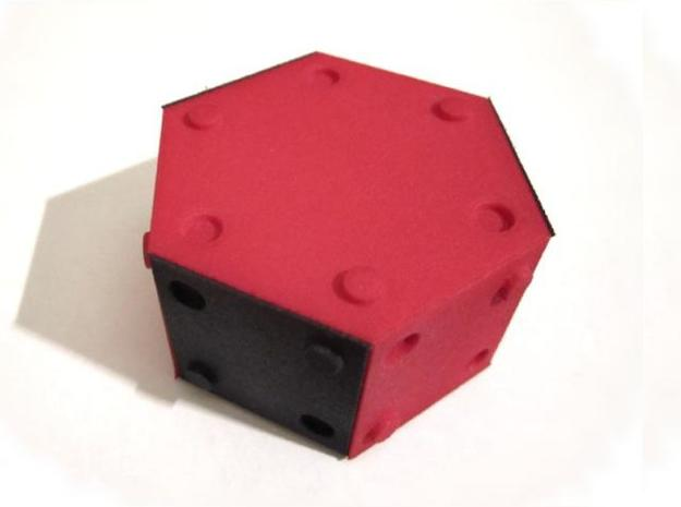 Half Hexbox (stackable) 3d printed Red and Black Strong and Flexible