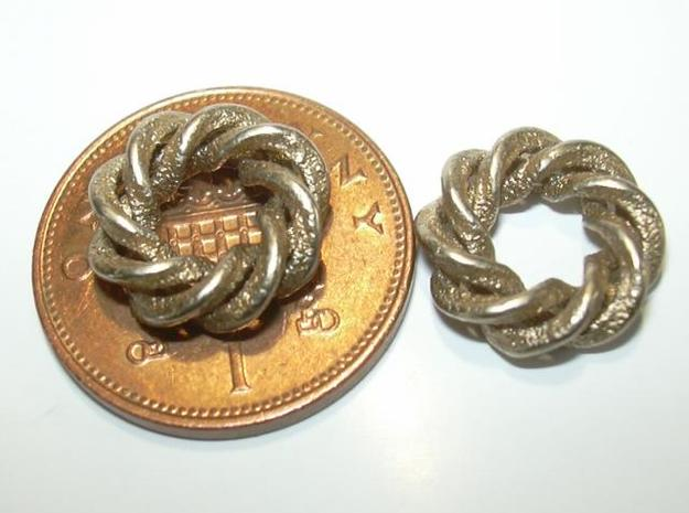 3 strand right hand mobius spiral charm bead 3d printed Photo - penny shown for size