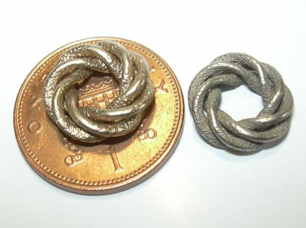 4 strand right hand mobius spiral charm bead 3d printed Photo - penny shown for size