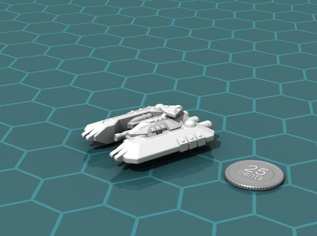 Badakh Battleship 3d printed Render of the model, with a virtual quarter for scale.