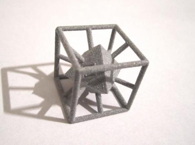 4-Letter Words D6 Cage Dice 3d printed Alumide (one view)