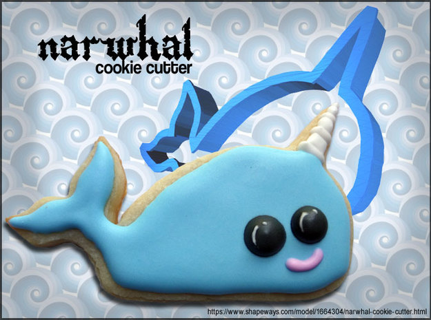 Narwhal Cookie Cutter 3d printed