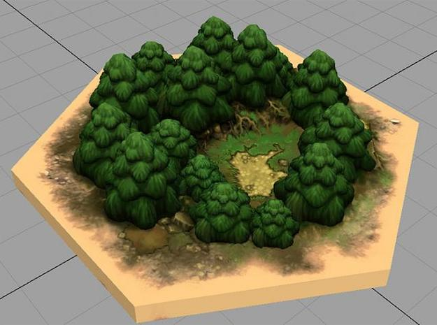 Catan_forest_hexagon 3d printed Description
