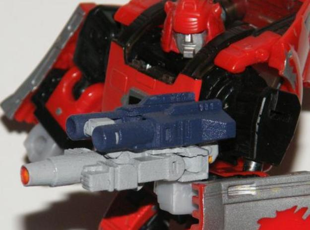 """Dustup"" Gunslinger figure 3d printed Gun mode, held normally by its 5mm post handle"