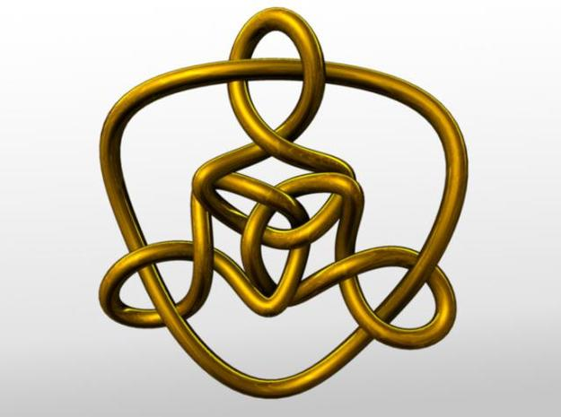 Celtic Knots 01 (small) 3d printed Rendered with gold.