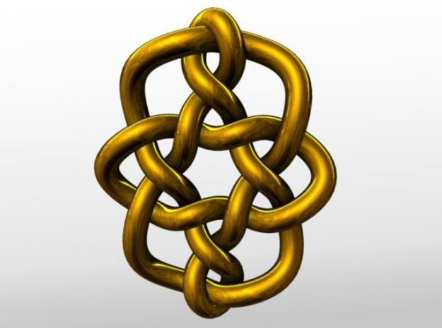 Celtic Knots 08 (small) 3d printed Rendered in gold.