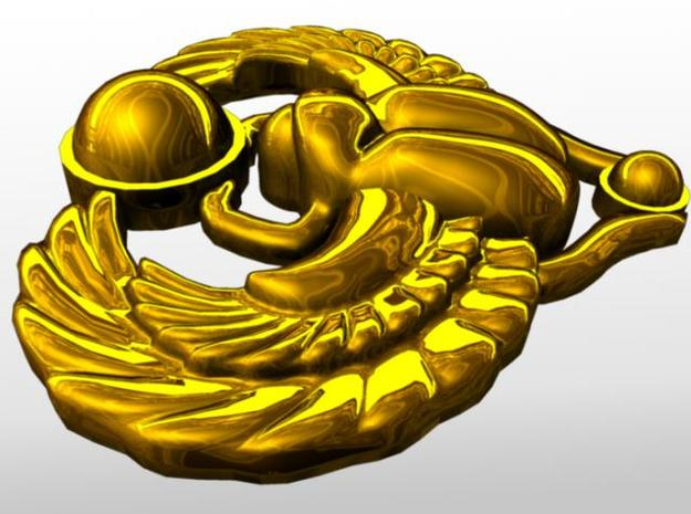 Scarab Pendant 3d printed Rendered in gold from the side.