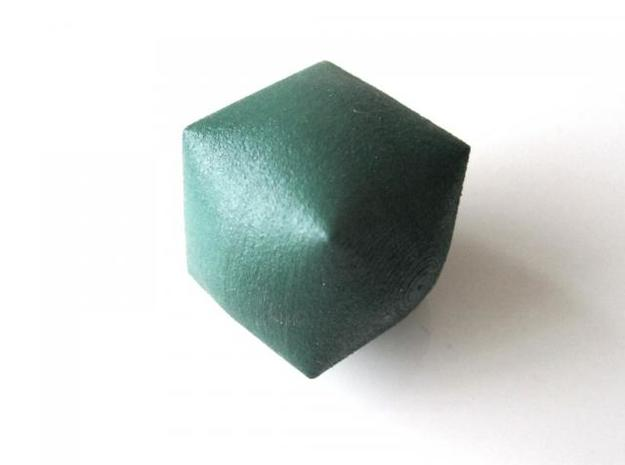 Inflated Cube 3d printed In Winter Green Strong and Flexible (vertex view)