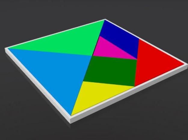 Tangram 3d printed A rendering with colors. (This version is not printed in different colors - everything is printed in the same color)