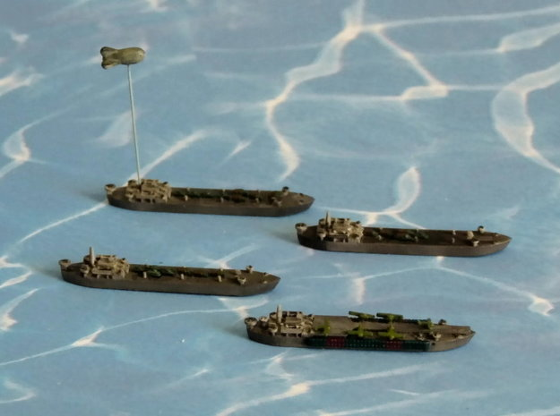 LST-906 & 3 x LST 542 Type LST 1/1800 3d printed 1/2400 Models w/o Balloon