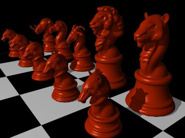 Individual Chess pieces - Animal Kingdom 3d printed Sample of full chess set (render in Maya)