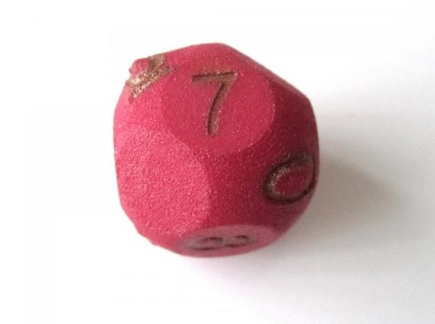 D10 3-fold Pointed Dice 3d printed In Winter Red Strong and Flexible (colors on numbers were manually added)