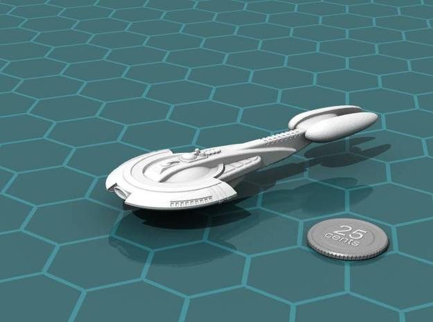Aratouk Nivekt class Battleship 3d printed Render of the model, with a virtual quarter for scale.