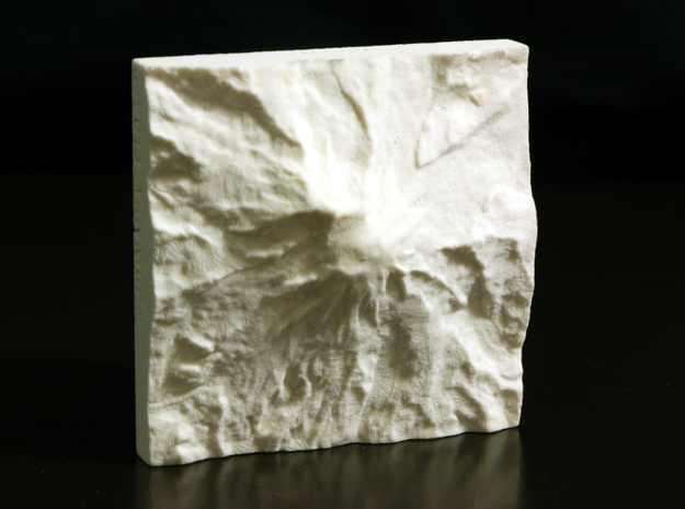 3'' Mt. Rainier, Washington, USA, Sandstone 3d printed Photo of actual model, North is up.