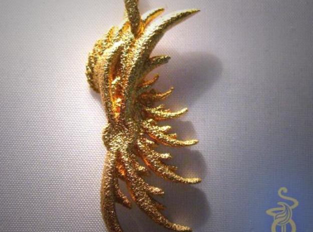 Wing Pendant : Fractal wing design in metal 3d printed 5