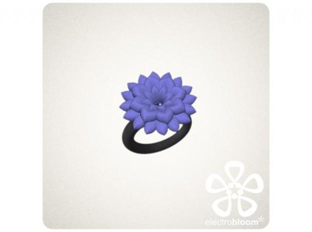 Betty flower charm. 3d printed INDIGO BETTY FLOWER CHARM ON BLACK SNAP RING