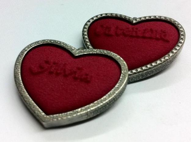 Heart Pendant Insert - LOVE 3d printed Inserts in frame.