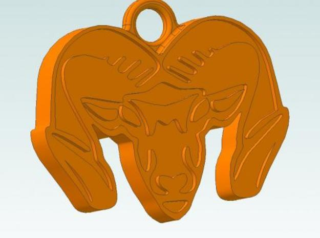 Ram's Head (Pendent Only) 3d printed CAD View with Outline Highlighted in Black. Original was intended to be Fall Orange Color.