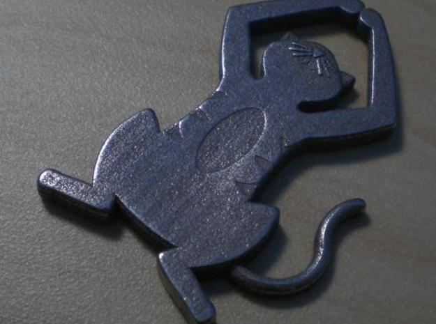 Detailed Cat Pendant 3d printed Stainless Steel