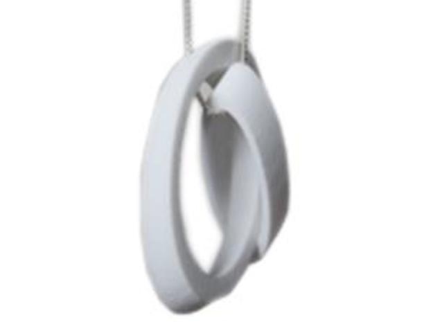 2 Loops Pendant 3d printed This is it in WSF, hanging on a sterling silver chain.